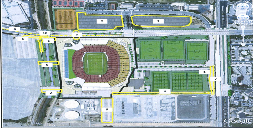 Map of 49ers Santa Clara Stadium ancillary projects