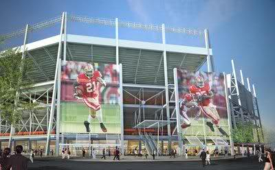 ground level view of proposed new Santa Clara San Francisco 49ers (40 forty niners) stadium showing the large electronic displays