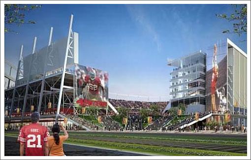 proposed 49ers stadium ground level view
