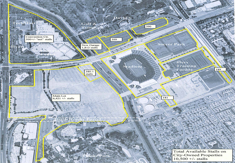 49ers Santa Clara Stadium parking lots