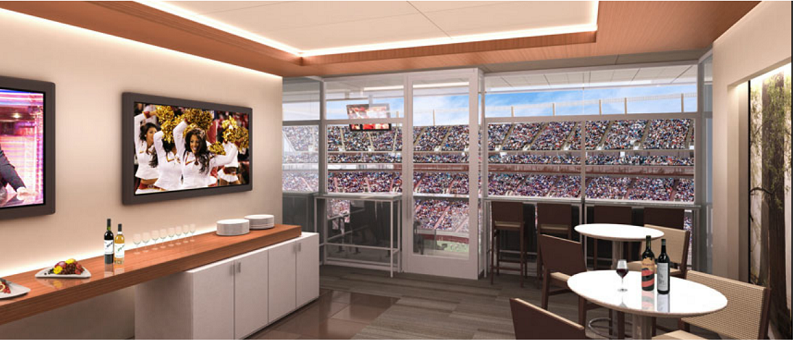 inside a luxury suite in the new 49ers Santa Clara Stadium