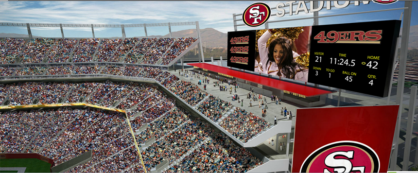 new 49ers Santa Clara Stadium scoreboard and outdoor concession stands